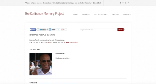 The Caribbean Memory Project. Joe Young.
